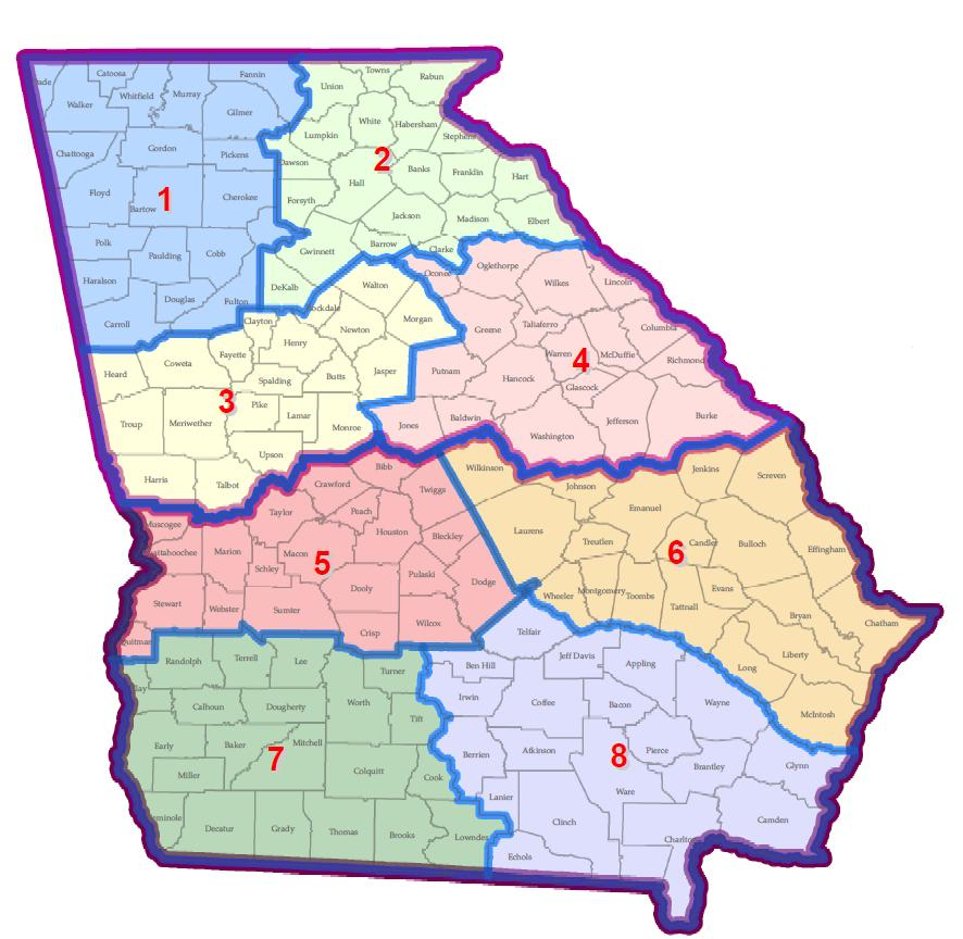 Georgia Municipal Cemetery Association Map Of Regions - Georgia map with regions